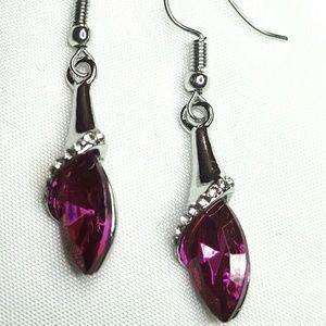 "Jewelry - 1.5"" Sil Pl Red Pink Crystal Pierced Earrings"